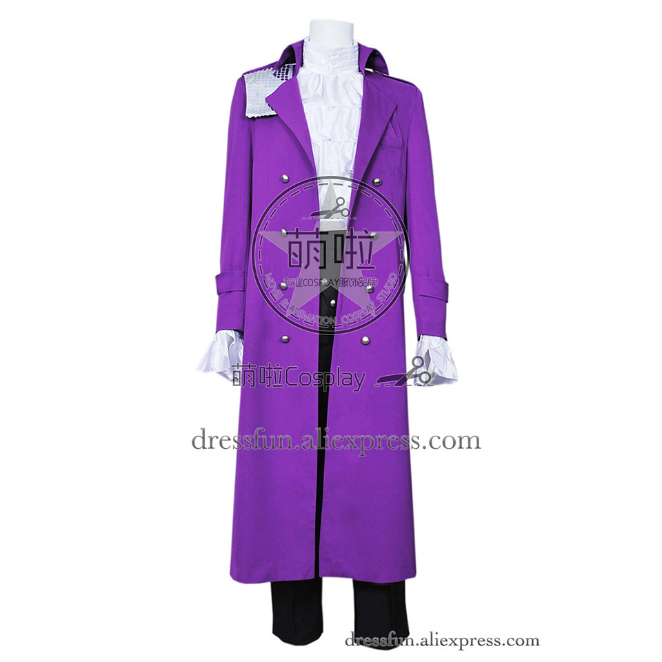 Purple Rain Cosplay Prince Rogers Nelson Costume Dark Purple Suit Outfits Coat Full Set Halloween Fashion Party Fast Shipping