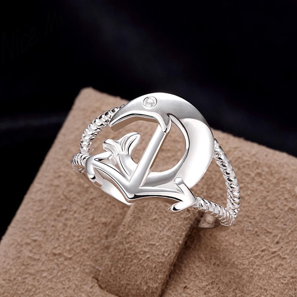 Dolphin love Speacial new styles for girl boy friends gift box free R737-8 Silver new design finger ring for lady