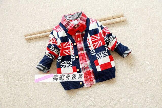 2015 Новый Осень 6-24 М ребенок флаг свитер одежда немного женственности torx кашемир кардиган БЕСПЛАТНАЯ ДОСТАВКА