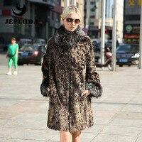 JEPLUDA польто женские из натуральные мех овчина воротнико стойк с лиса утепленная синтепоном шуба натуральный мех казлика куртки женские зим