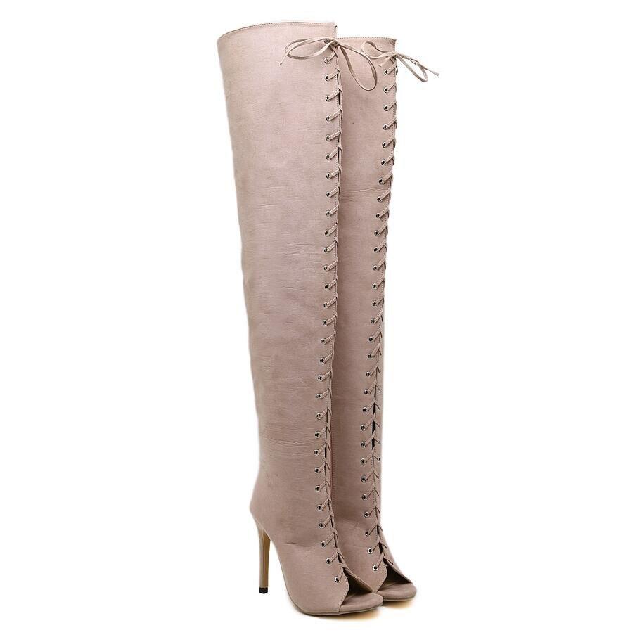 Luxe Daim 2 D'été Femmes Bottes Marque Toe 1 Versio Designer Gladiateur Sandales Extrême Talons De Peep Chaussures Pompes Haute En Noir Cuisse H9beWED2YI