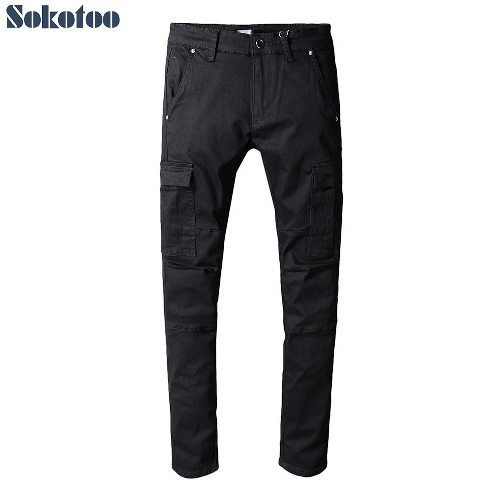 Sokotoo 男性のポケット黒デニム貨物ジーンズカジュアルプラスサイズスリムフィットパッチワーク長ズボン  グループ上の メンズ服 からの ジーンズ の中 1