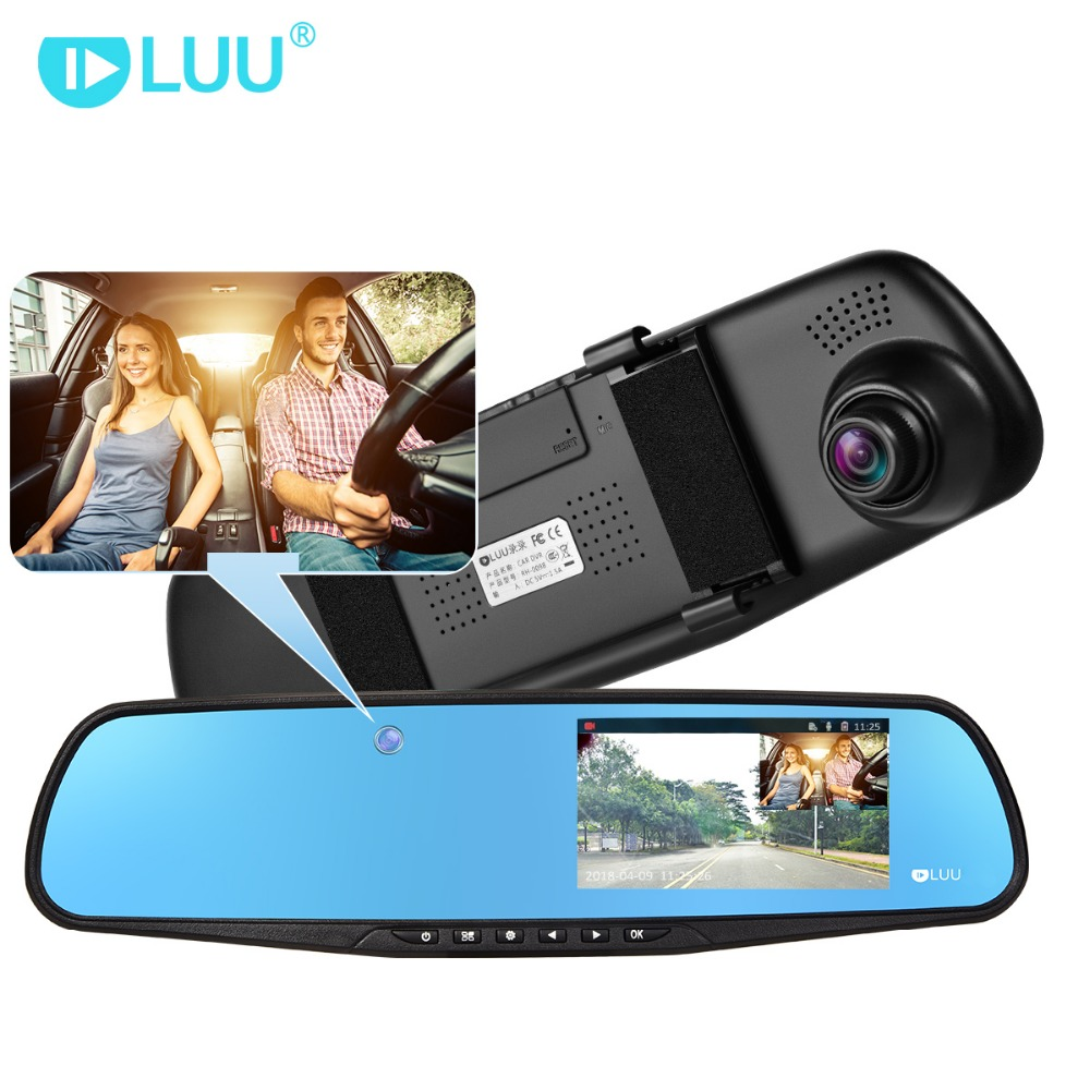 цена на LUU 1080P FHD Car Dvr dash cam Hidden Built-in Camera 5.0 IPS Rearview Mirror Digital Video Recorder Dual Lens Camcorder