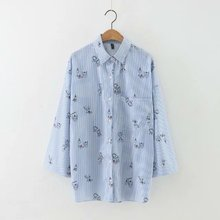 New Fashion Women Striped Floral Print Blue Blouses Long Sleeve Turn-down Collar Side Open Shirt Casual Brand Tops For Female