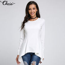 9de6ef3cc Celmia Women Peplum Top Sexy Blusas Female Blouse 2018 Autumn Casual Long  Sleeve Solid Slim Asymmetric Tunic Shirt Plus Size Tee