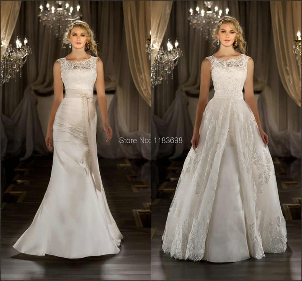 New Sexy Elegant Scoop-neck Lace Cap Sleeve with Removable Tail Wedding Dresses Bridal Gown 2019 wedding dress 2 in 1
