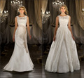 New Sexy Elegant Scoop-neck Lace Cap Sleeve with Removable Tail Wedding Dresses Bridal Gown 2017 wedding dress 2 in 1