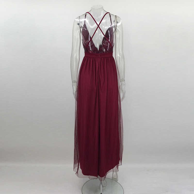 Nattemaid Новинка 2017 года год сексуальная Для женщин красное платье Мода Новый Макси Длинное Сетчатое Платья для женщин винтажные Длина пола блесток Vestidos