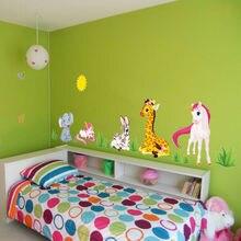 Diy Cartoon Wall Stickers Unicorn Elephant Removable Home Decor Kids Room Art Decals