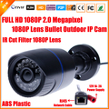 H.264 CCTV Full HD 1080 P 2MP Cámara IP de Seguridad Al Aire Libre 2.0 Megapixel Cámara Bullet IP 1080 P Lente de Filtro de Corte IR ONVIF 24 LED