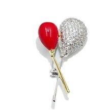 New Style Trendy Unisex Enamel Zircon Brooch Wedding Collar Pins Fashion Romantic Balloon Brooches Women Wedding Lover