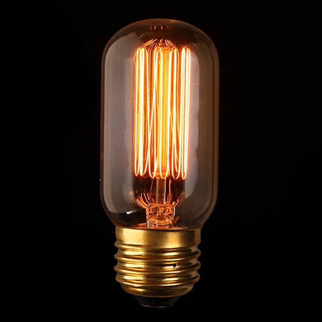 Retro T45 Vintage Edison Bulb 110v 220v 60w E27 Filament Straight Art Light