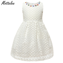 Mottelee Girls Dress Precious Stone Children Summer Dress White Baby Princess Desses Party Wedding Clothing for Kids