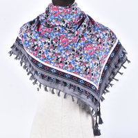 Woman Soft Small Flowers Tassels Square Scarf Winter Cotton Charm Scarves Girl Warm National Style Floral
