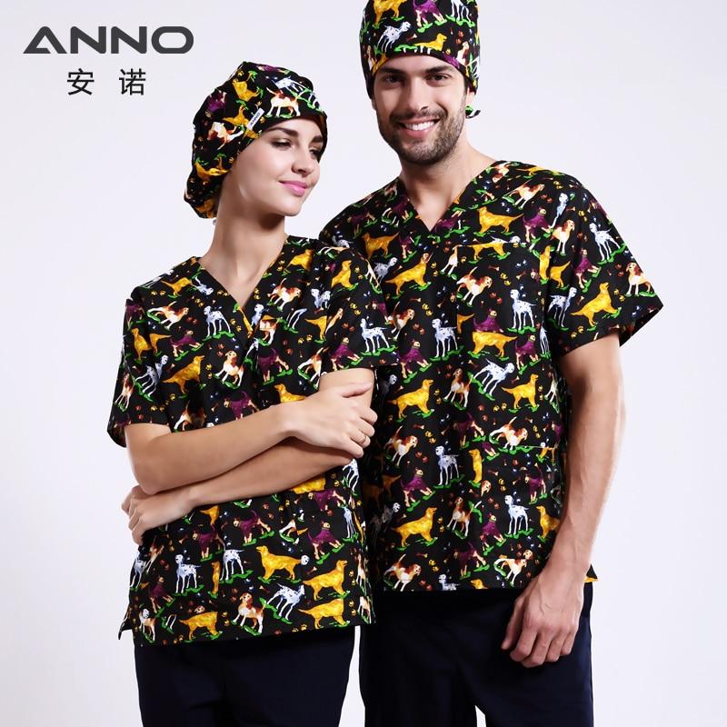 ANNO Cartoon Dog Medical clothing for Men Women Dental SPA Hospital Dentistry Work Wear Nursing Scrubs Medical Costumes