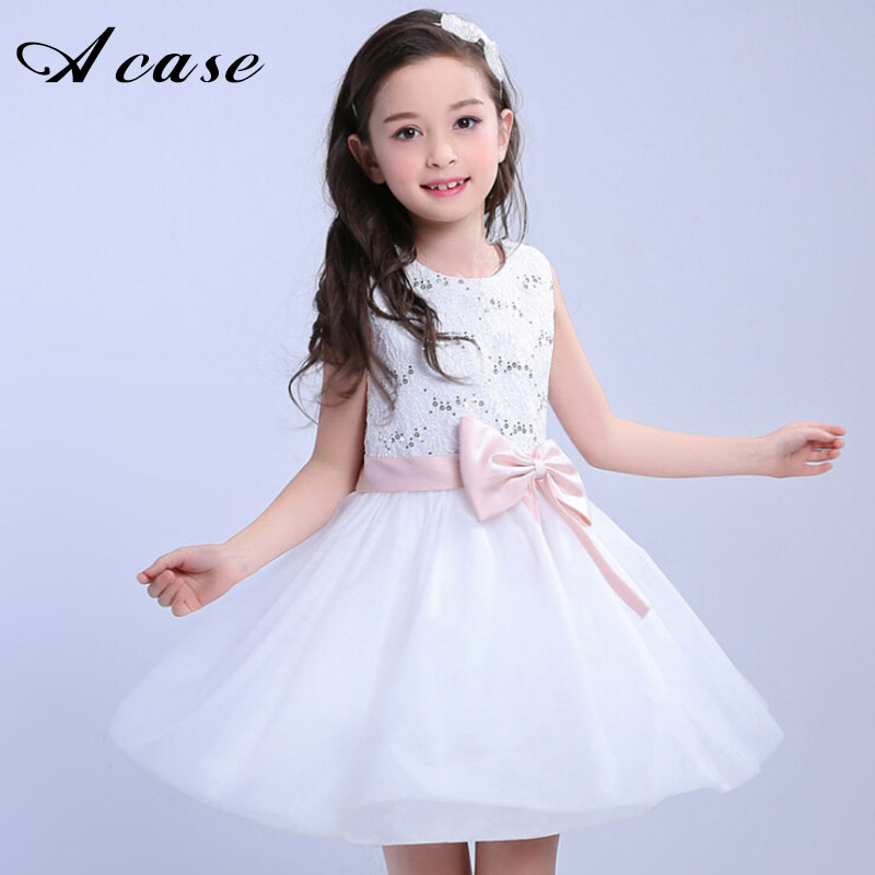 Children Princess Dresses 2018 New Summer Sleeveless Kids Girls Sequins Bow Party Wedding Elegant Dress for Girl White Clothes