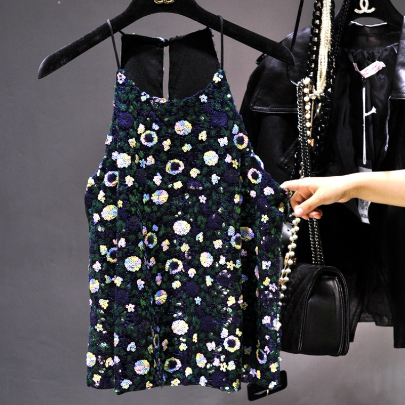Luxury Hanging neck Shiny flowers sequined Camis Handmade sequins straped Vest embroidered bottoming Stage Shirts   Tank     Tops   2018
