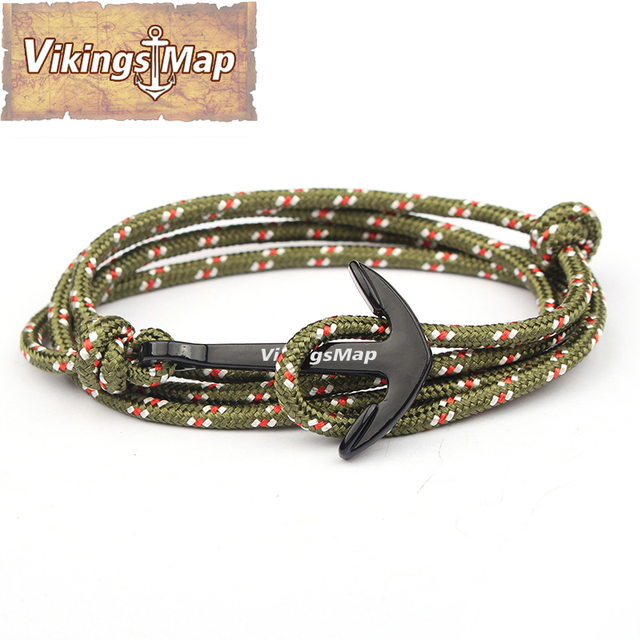 Vikings Map 2017 New Fashion Hook Bracelets Men And Woman Charm Survival Rope Chain