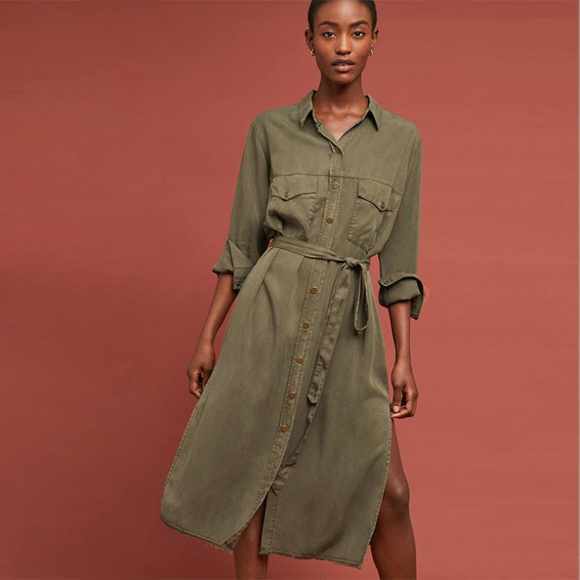 Fashion female retro hollow cut split Dress Women's single breasted pure color Tooling Dresses with belt wq1594 dropship