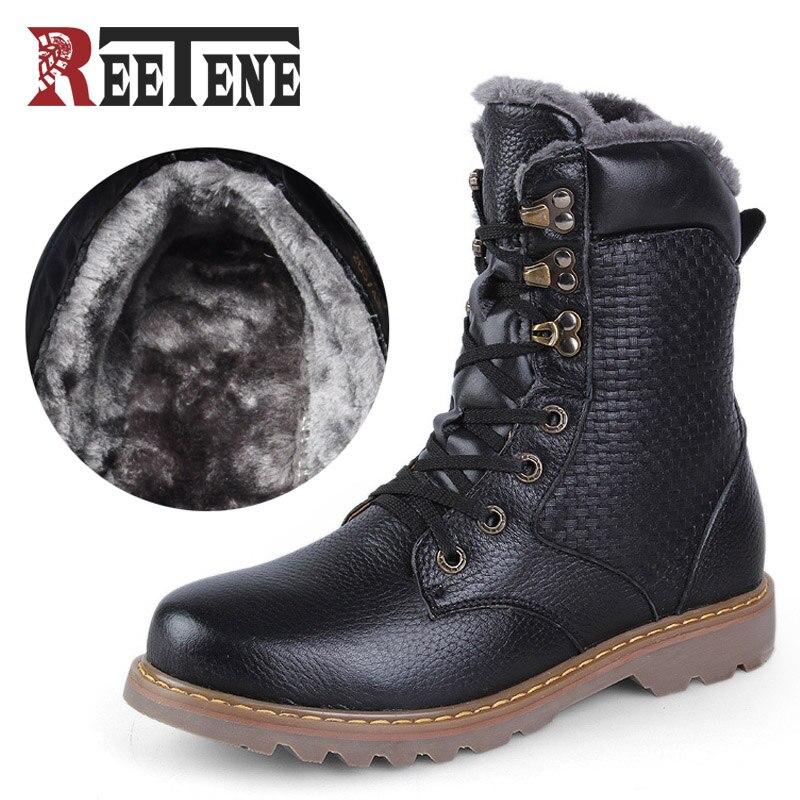 REETENE 2018 más cálida de invierno de los hombres botas de cuero genuino hecho a mano de los hombres botas para la nieve de los hombres de alta calidad de peluche botas Bottes hommes