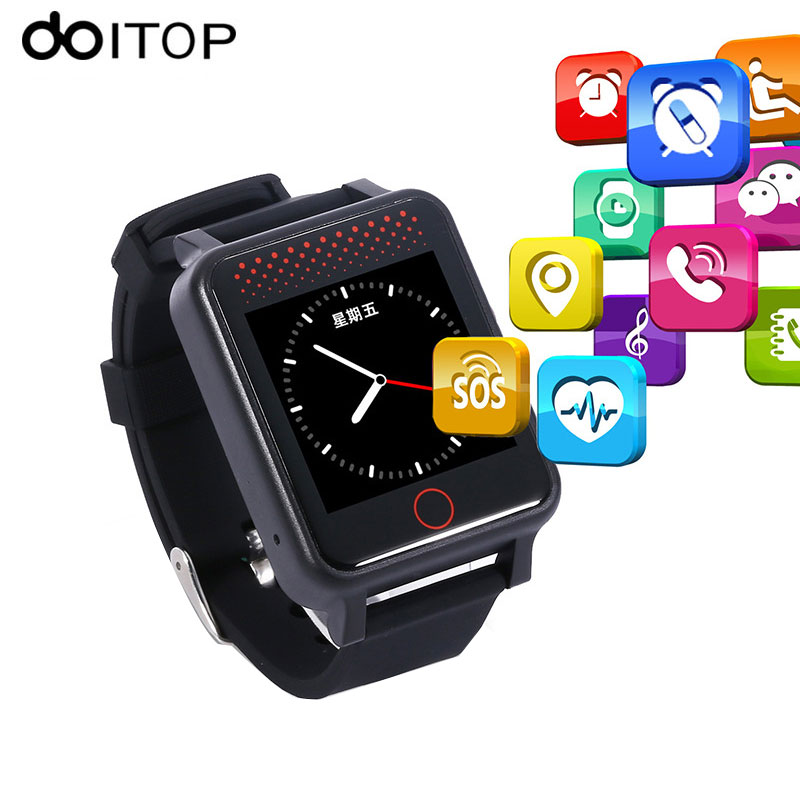 DOITOP GPS LBS Tracker Smart Watch for Elder Kits Anti-Lost Real-Time Location Monitor SOS Call Alarm Watches for Elderly Child english smart watch d100 elderly heart rate monitor fall down alarm function gps lbs wifi tracker montre connecter android f36
