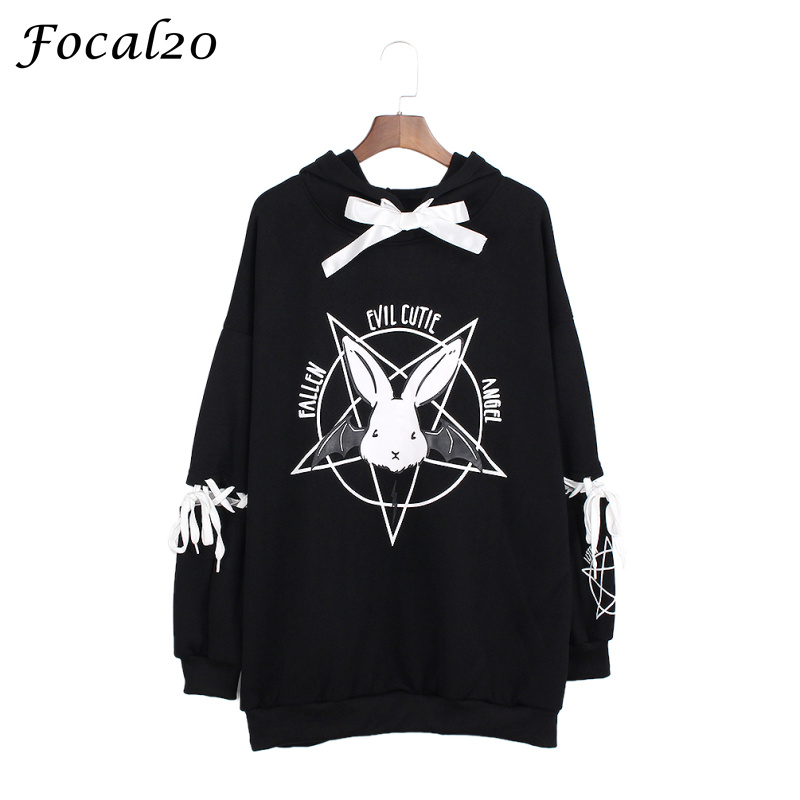 Focal20 Harajuku Pentagram Print Lace Up Women Fleeces Hoodies Gothic Punk Oversize Velvet Hooded Sweatshirt Pullover Streetwear #1