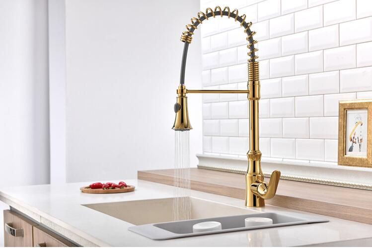 European-style all-copper kitchen black spring faucet telescopic double-outlet sink pulling faucet free shipping