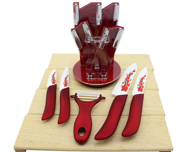 High quality Zirconia kitchen knife set Ceramic Knife tool Set 3″ 4″ 5″ 6″ inch + Peeler+Holder