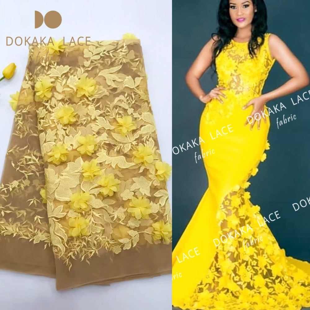 African Noble Design Net Lace Fabric With 3D Applique Guipure Style 3D Flower In Yellow Nigerian