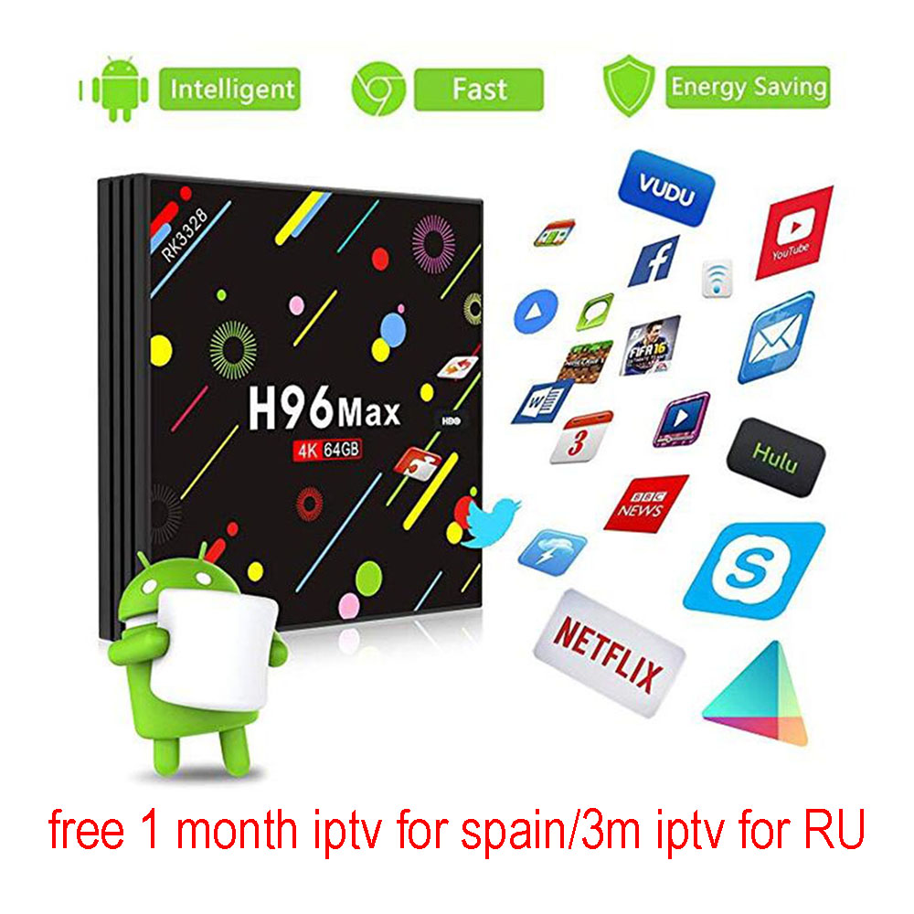 H96 Max H2 Smart TV Box Android 7.1 4GB 32GB RK3328 Quad-Core WiFi Ultra HD H.265 Bluetooth with 1/3 Month IPTV Free Set Top BoxH96 Max H2 Smart TV Box Android 7.1 4GB 32GB RK3328 Quad-Core WiFi Ultra HD H.265 Bluetooth with 1/3 Month IPTV Free Set Top Box