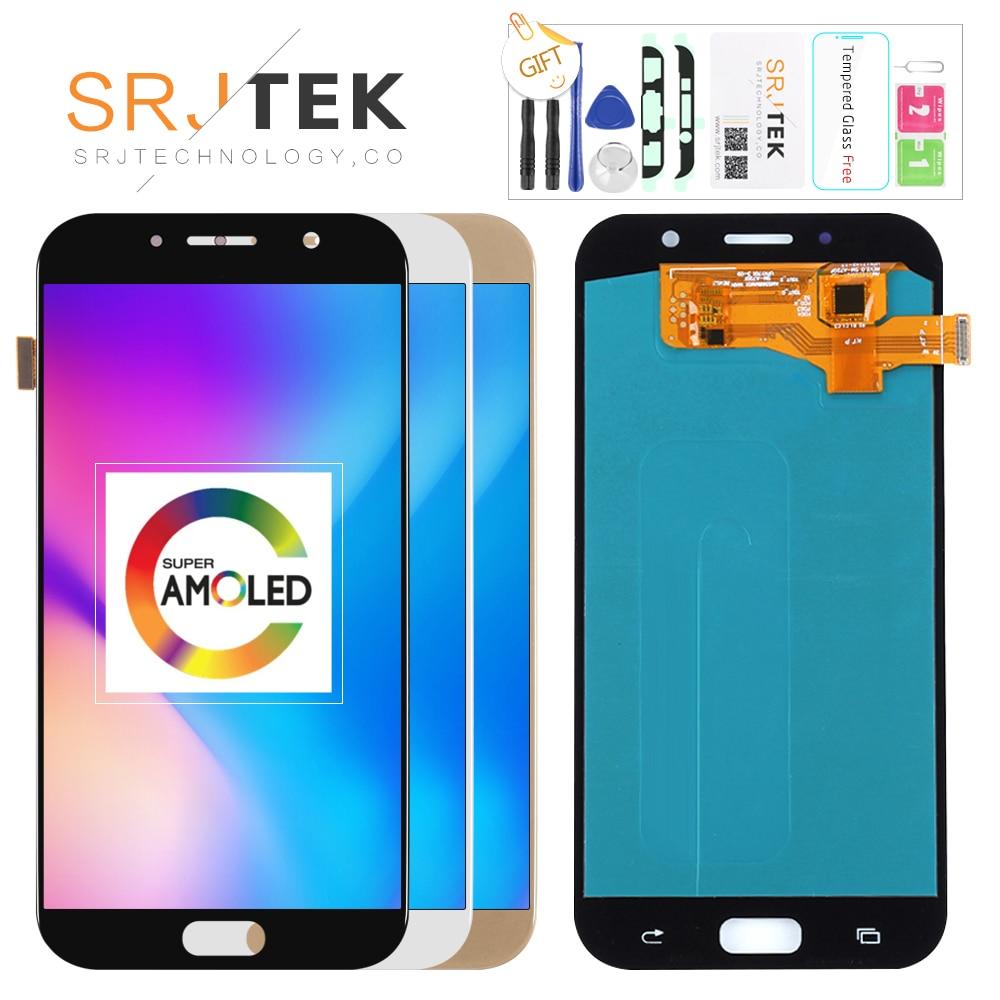 100% pulgadas Super AMOLED pantalla LCD para Samsung Galaxy A7 2017 A720 A720F SM-A720F pantalla LCD de pantalla táctil digitalizador Asamblea