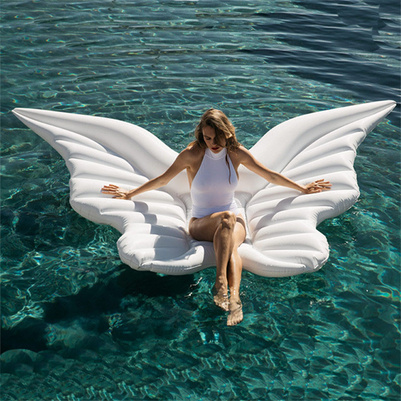 250cm Giant Angel Wings Inflatable Pool Float Gold White Air Mattress Lounger Water Party Toy Ride-on Butterfly Swim Ring giant pool float shells inflatable in water floating row pearl ball scallop aqua loungers floating air mattress donuts swim ring