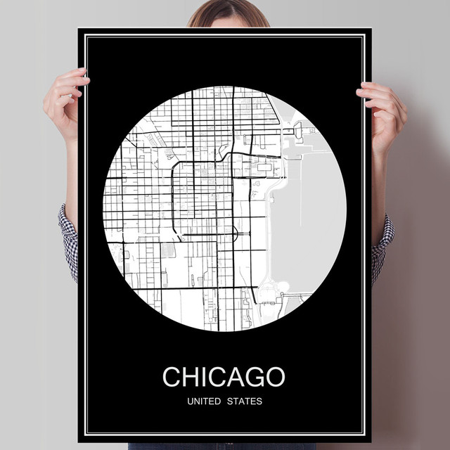 Chicago usa famous world city map print poster print on paper or canvas wall sticker bar