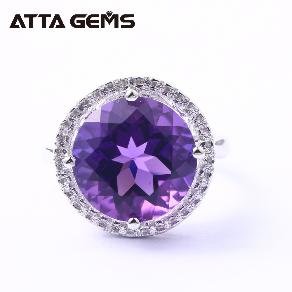 Amethyst Sterling Silver Ring For Women 8 Carats Created Amethyst Crystal Top Quality Amethyst Birthday Gift Party Wedding Ring