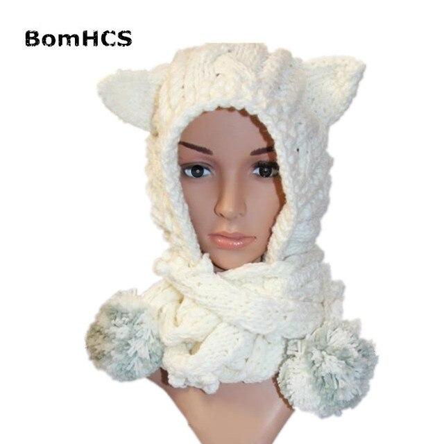 BomHCS Bonito Ouvidos Gorro Branco com Lenço das Mulheres Bonitas 100% Handmade  Malha Chapéu Lenço d3f742e9c5c