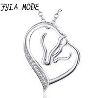 925 Sterling Silver Necklace Jewelry Collier Crystal Heart Horse Head Pendant Necklace Fashion Women Jewelry Bijoux