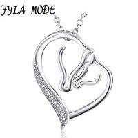 925 Sterling Silver Bạc Vòng Cổ Trang Sức Collier Pha Lê Tim Đầu Ngựa Mặt Dây Chuyền Vòng Cổ Thời Trang Phụ Nữ Jewelry bijoux coeur