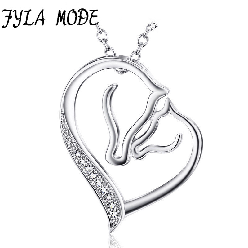 925 Sterling Silver Necklace Jewelry Collier Crystal Heart Horse Head Pendant Necklace F ...