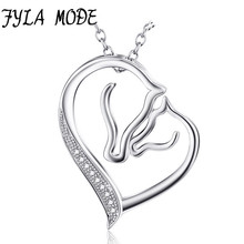 925 Sterling Silver Necklace Jewelry Collier Crystal Heart Horse Head Pendant Necklace Fashion Women Jewelry bijoux coeur