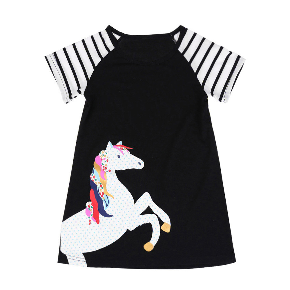 Girls Dress Summer Hot Sale Toddler Kids Baby Girls Short Sleeve Horse Printing Party Dress Outfits Clothes