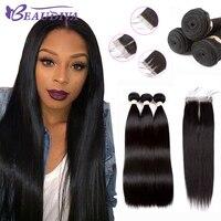 Beaudiva Brazilian Hair Weave 3 Bundles Brazilian Straight Hair Human Hair Bundles With Lace Closure 100% Human Hair Extension