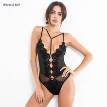 2019 Fashion Lace Embroidery Bodysuit Women Bodysuits feminino Deep V Mesh women Sexy