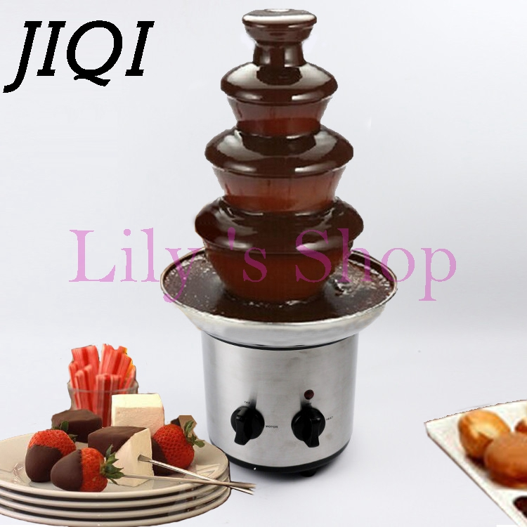 4 tiers layers Chocolate Fountains Fondue Wedding Children Birthday Home Christmas Melt Waterfall Machine party 110V 220V EU US fast shipping food machine 6 layers chocolate fountains commercial chocolate waterfall machine with full stainless steel