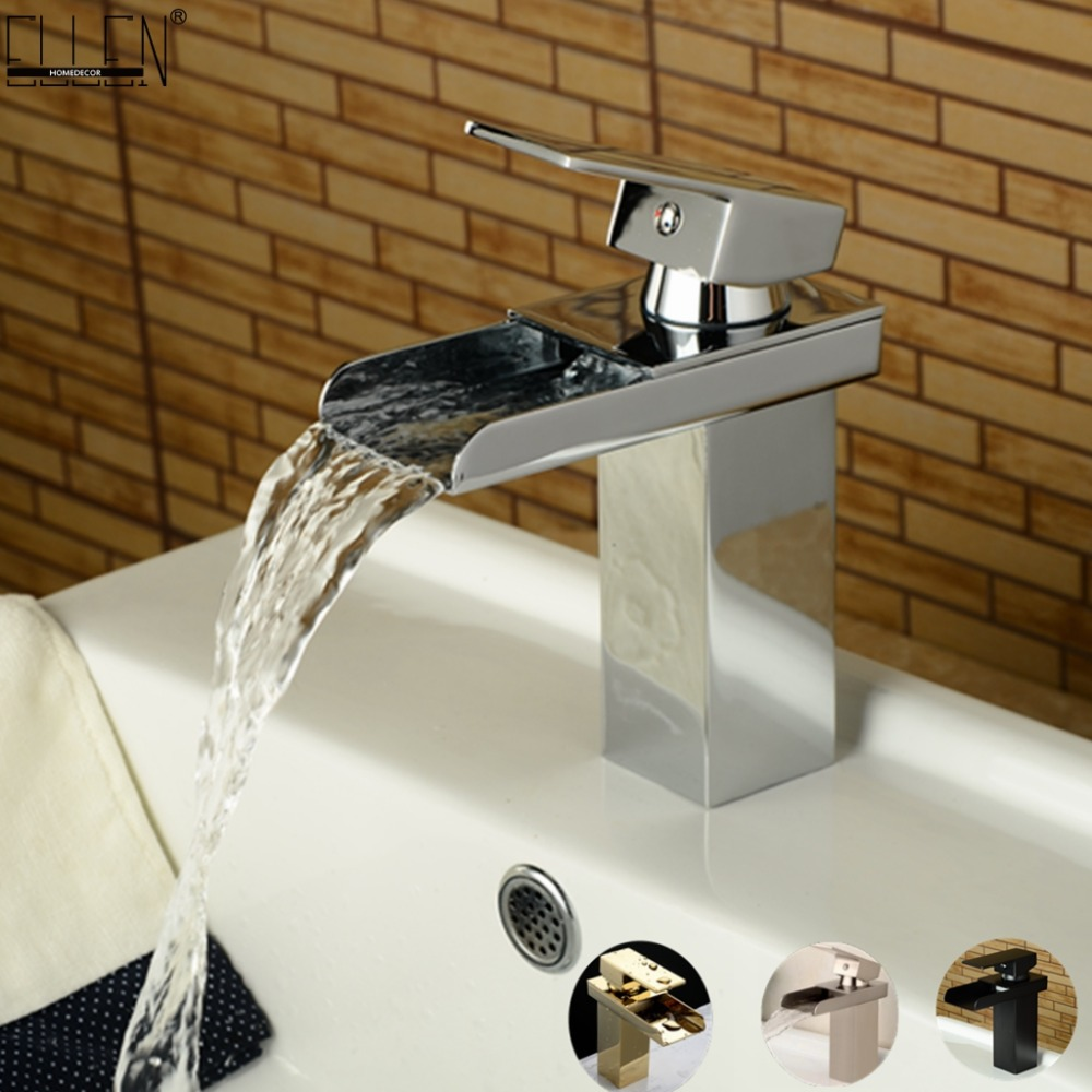Square Faucet Waterfall Bathroom Sink Mixer Tap Hot and Cold Water Chrome/Brush Nickel/Oil Rubble Bronze/Gold Finished free shipping polished chrome finish new wall mounted waterfall bathroom bathtub handheld shower tap mixer faucet yt 5333