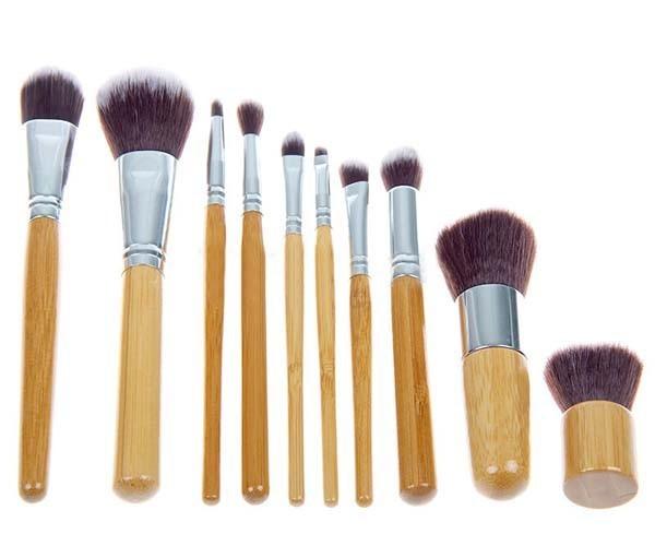 1 conjunto 10 PCS Pro cosméticos escova de bambu do punho pincéis de maquiagem sintéticos Kit maquiagem ferramentas jogo de escova frete grátis