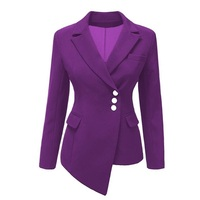 Spring and autumn women's new European and American fashion small suit leisure irregular Slim color professional suit jacket AL1