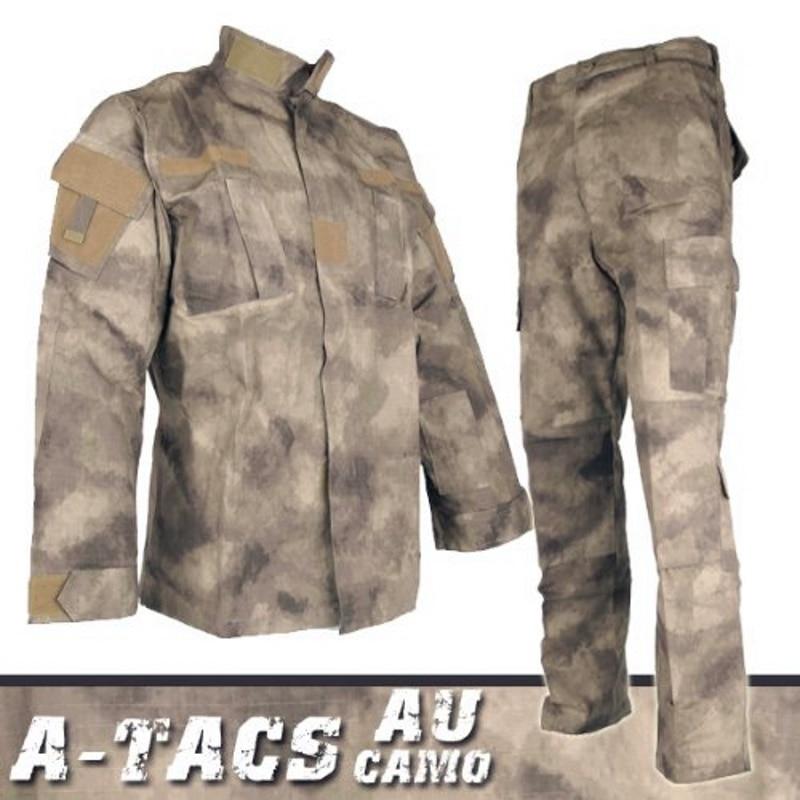 CQC Tactical Airsoft Military Army Uniform Clothing BDU Combat Uniform Men Jacket & Pants Set Outdoor Paintball Hunting(A-TACS)