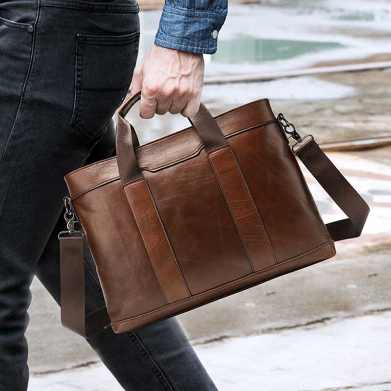 MVA Men's Briefcase Bag For Men Computer Bag 14 Men's Genuine Leather Messenger Bags Men Leather Laptop Bags Business Briefcases