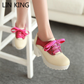 LIN KING Women Pumps Thick Sole Square Medium Heel Sweet Lolita Shoes Lace Up PU Round Toe Party Autumn Platform Female Shoes