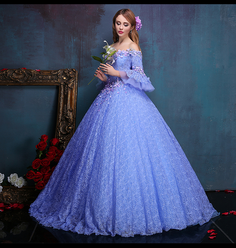 Ball Gown Embroidered Wedding Dress: 100%real Flower Embroidery Beading Light Purple Lace Ball